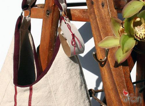 Maroon & Burgundy Antique Linen bag