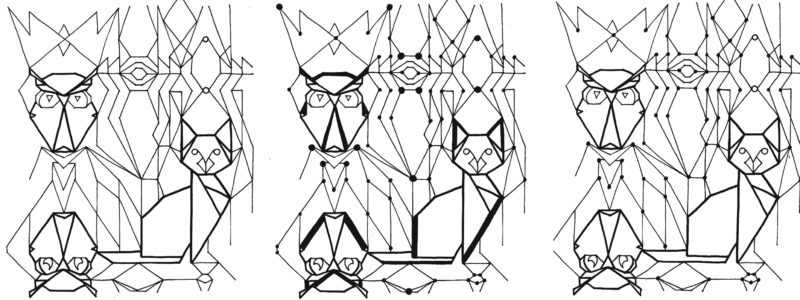 Pussy Cat the Owl 19 Jan Dif line with dots in different sizes repeat piece copy